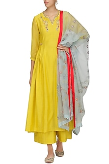 Yellow Embroidered Kurta Set by KAIA