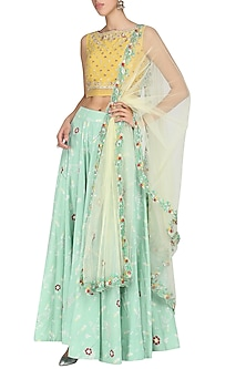 Yellow and Blue Embroidered Lehenga Set by KAIA