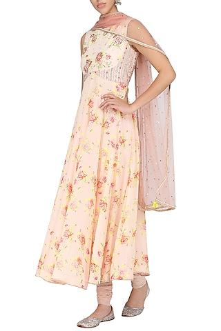 Peach Floral Printed Anarkali Set by KAIA