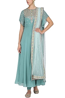 Sapphire Blue Embroidered Anarkali Set by KAIA