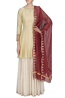 Gold and Off White Embroidered Sharara Set by KAIA