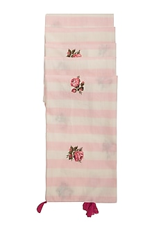 Pink & White Striped Embroidered Scarf by Khes