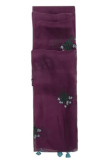 Dark Purple Embroidered Dupatta by Khes