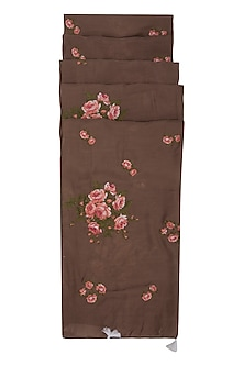 Brown Tea Roses Embroidered Scarf by Khes