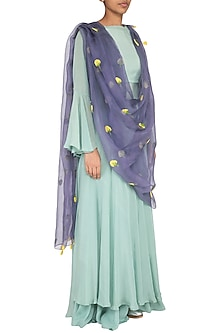 Purple Dahlia Embroidered Dupatta by Khes