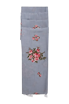 Grey Tea Roses Embroidered Scarf by Khes