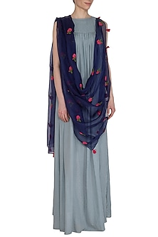 Navy Blue Peony Embroidered Dupatta by Khes