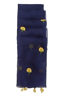 Carbon Blue Dahlia Embroidered Dupatta by Khes