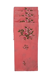 Pink Tea Roses Embroidered Scarf by Khes