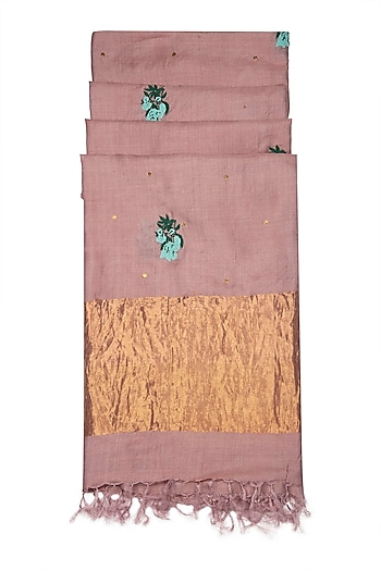 Soft Pink Embroidered Silk Dupatta by Khes