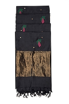 Black Embroidered Silk Dupatta by Khes