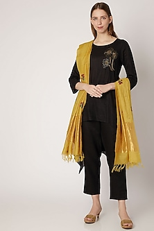 Yellow Embroidered Silk Dupatta by Khes