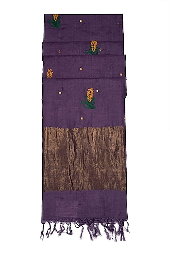 Purple Embroidered Silk Dupatta by Khes