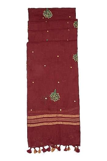 Maroon Floral Embroidered Dupatta by Khes