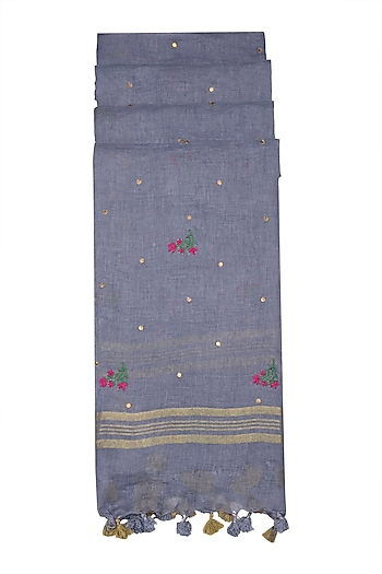 Grey Floral Embroidered Dupatta by Khes