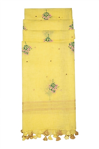 Yellow Floral Embroidered Dupatta by Khes