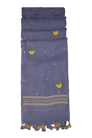 Purple Floral Embroidered Dupatta by Khes