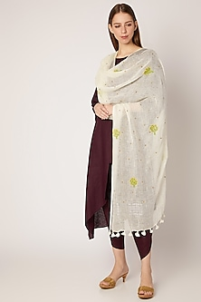 White Floral Embroidered Dupatta by Khes