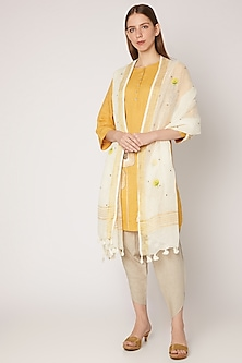 White Floral Embroidered Linen Dupatta by Khes