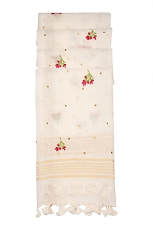 White Embroidered Linen Dupatta by Khes