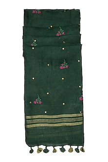 Green Floral Embroidered Dupatta by Khes