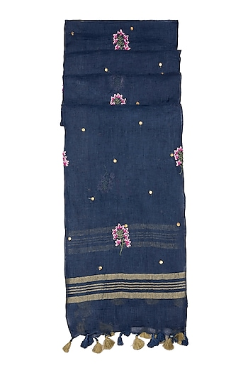 Blue Floral Embroidered Dupatta by Khes