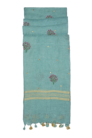 Sky Blue Floral Embroidered Dupatta by Khes
