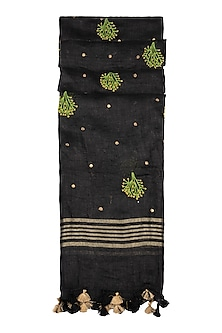 Black Floral Embroidered Dupatta by Khes