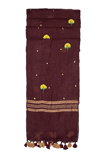 Dark Magenta Floral Embroidered Dupatta by Khes