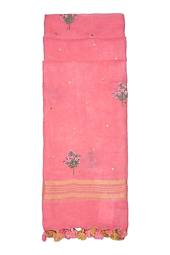 Pink Floral Embroidered Dupatta by Khes