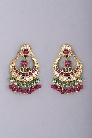 Gold Foil Finish Chandbali Earrings by Khushi Jewels