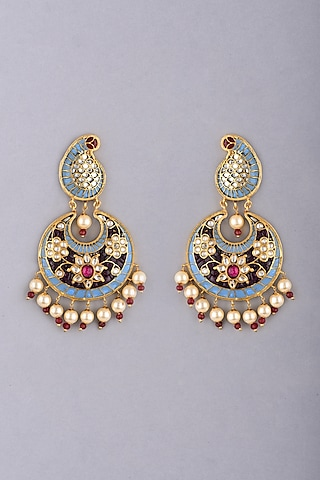 Gold Foil Finish Blue Stone Earrings by Khushi Jewels