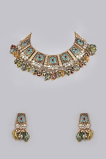 Gold Foil Finish Multi Colored Stone Necklace Set by Khushi Jewels