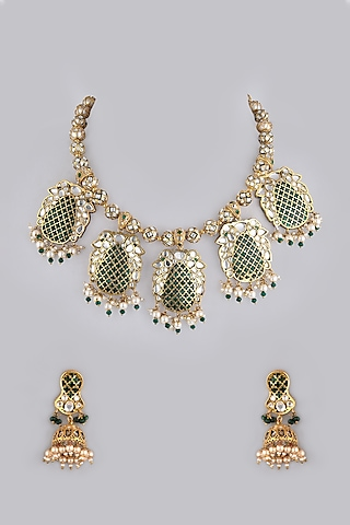 Gold Foil Finish Long Necklace Set by Khushi Jewels