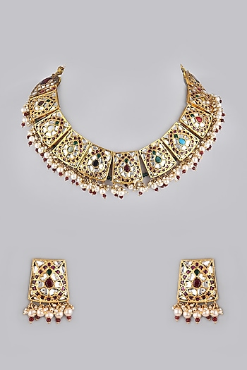 Gold Foil Finish Stone Necklace Set by Khushi Jewels