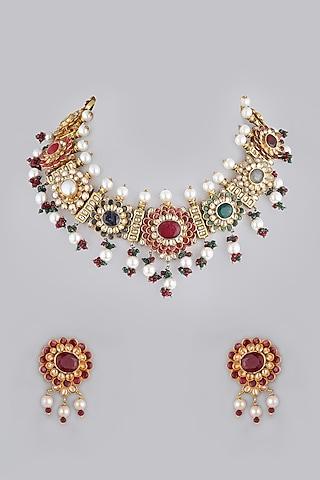 Gold Foil Finish Navratan Necklace Set by Khushi Jewels