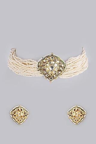 Gold Finish Moti Necklace Set by Khushi Jewels