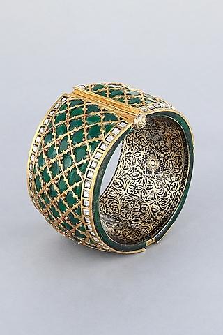 Gold Foil Finish Green Stone Kada by Khushi Jewels