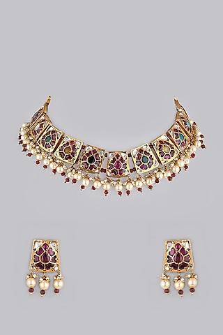Gold Foil Finish Necklace Set by Khushi Jewels