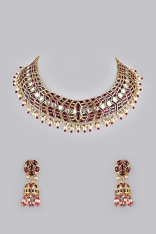 Gold Foil Finish Red Stones Necklace Set by Khushi Jewels