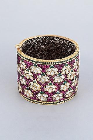Gold Foil Finish Purple Stones Kada by Khushi Jewels