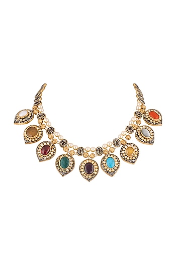 Gold Plated Multi Colored Semi-Precious Navratan Stones Necklace by Khushi Jewels