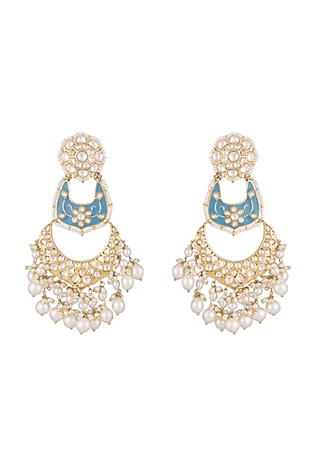 Gold Finish Kundan & Pearls Enameled Earrings by Khushi Jewels