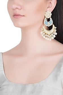 Gold Finish Kundan & Pearls Enameled Earrings by Khushi Jewels