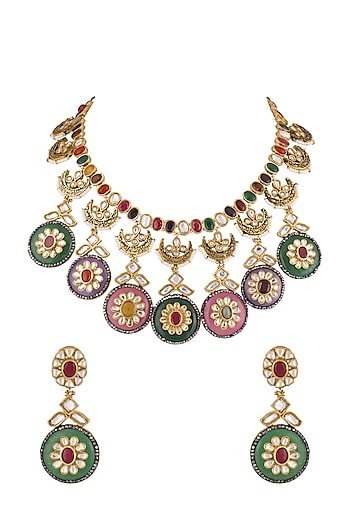 Gold Plated Multi Colored Semi-Precious Stone, Pearls & Kundan Reversible Necklace Set by Khushi Jewels