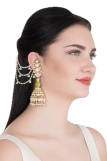Gold Finish Jhumka Earrings With Kan Chain by Khushi Jewels