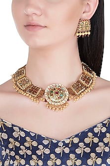 Gold Plated Thewa Worked Navratna Stones Necklace Set by Khushi Jewels