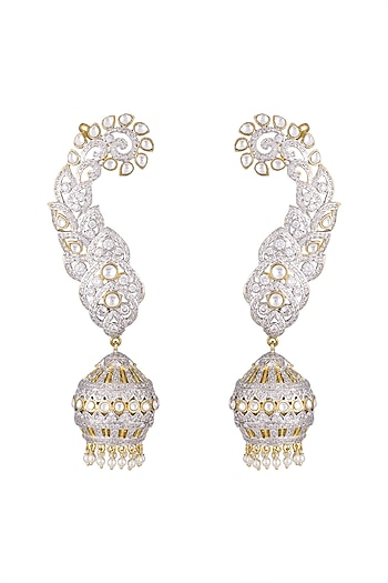 Gold Finish CZ Diamonds & Kundan Long Jhumka Earrings by Khushi Jewels