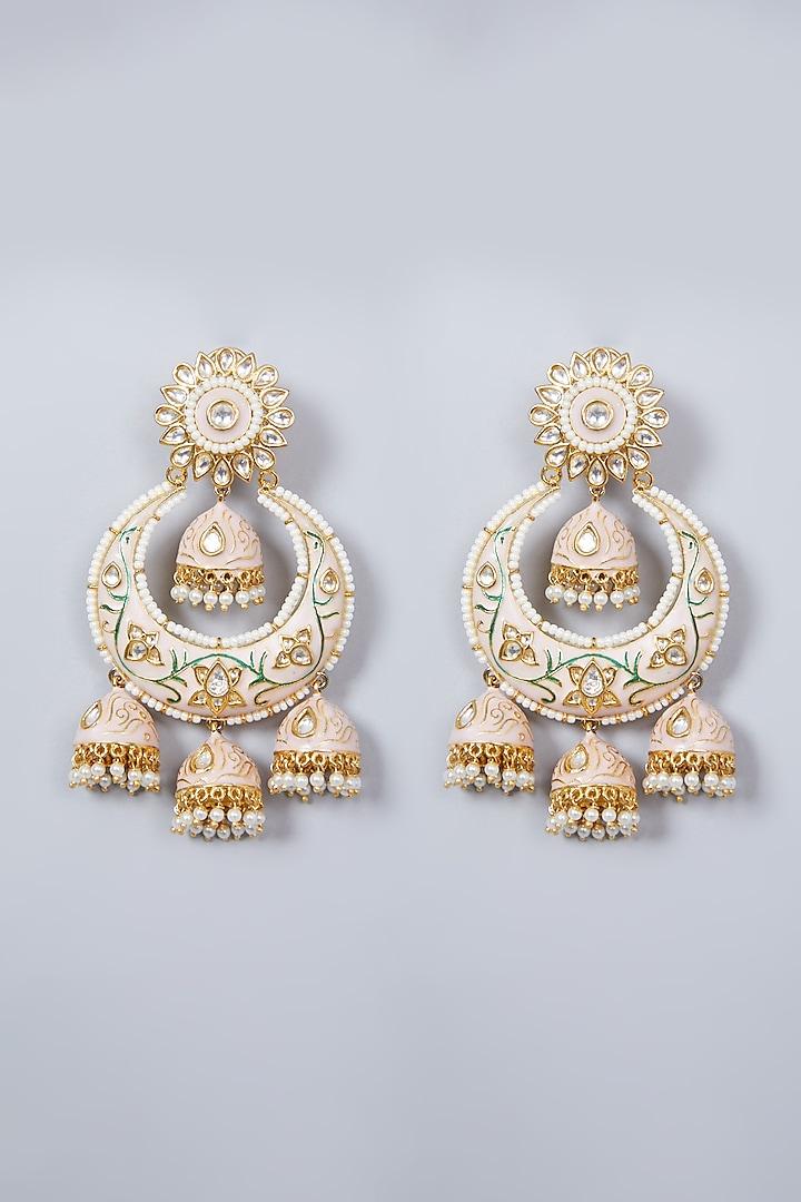 Gold Finish Pearl Enamelled Chandbali Earrings by Khushi Jewels
