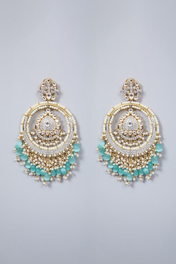 Gold Finish Pearl Chandbali Earrings by Khushi Jewels